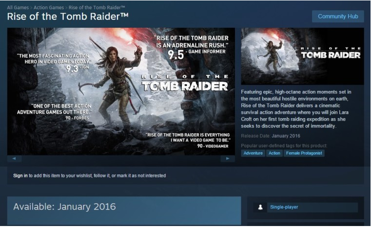 Rise of the Tomb Raider в Steam